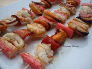 Brochetas de marisco 1