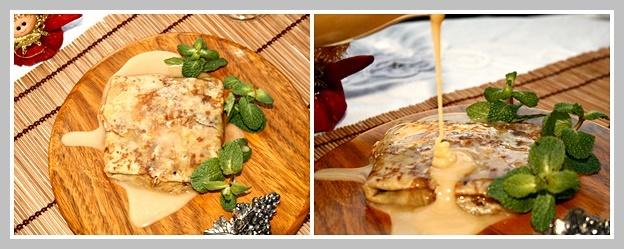 Crêpes Georgette: Crepe de piña con su salsa de toffee-piña
