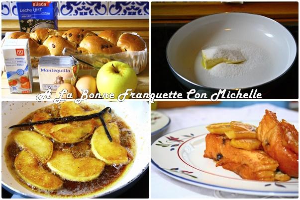 Pain perdu pommes-vanille, torrijas con manzana caramelizada y vainilla
