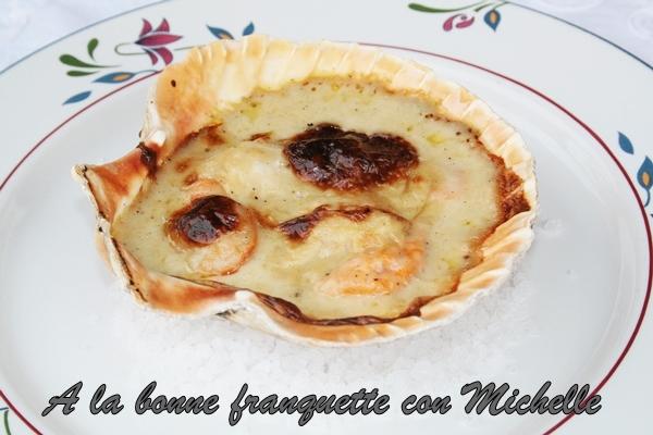 Coquilles Saint-Jacques sauce au Noilly, Vieiras gratinadas al vermú de Noilly-Prat