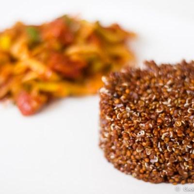 Quinoa roja con pisto