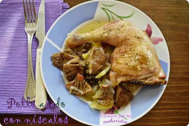 pollo asado con níscalos