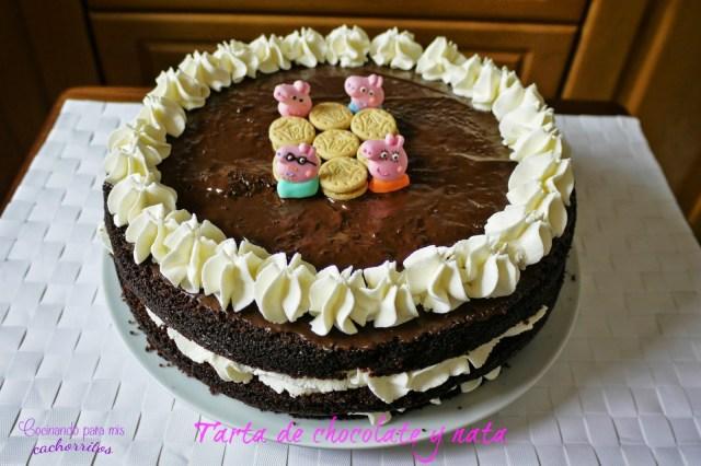 Tarta de chocolate y nata
