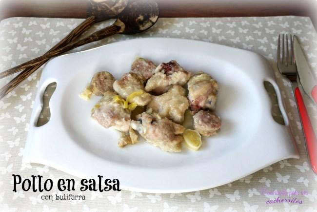 pollo en salsa con butifarra