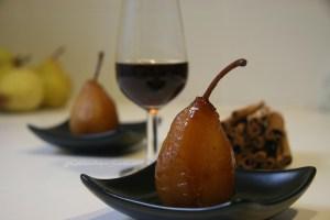 receta baja en calorias de peras al moscatel
