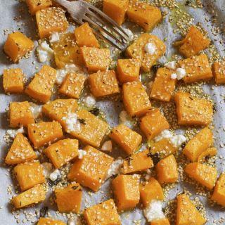 Calabaza asada en el horno con queso feta