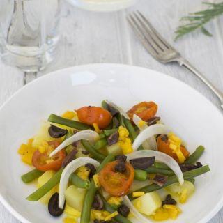 Ensalada de verduras con vinagreta de melocotón