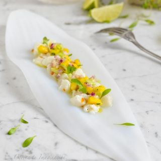 Ceviche de bacalao fresco y mango