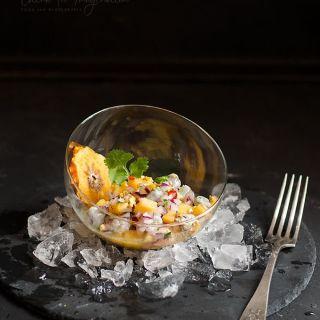 Ceviche de langostinos con cítricos y kaki Persimon®
