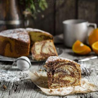 Bizcocho marmolado de naranja y chocolate super esponjoso