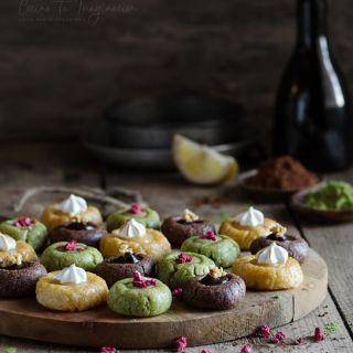 Panellets de sabores, chocolate, té matcha y lemon pie