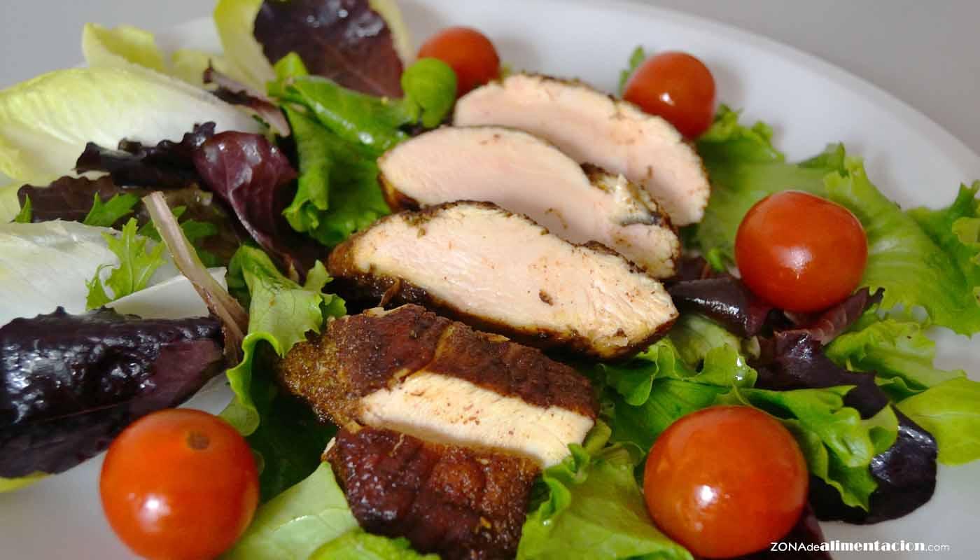 receta de ensalada de pollo marinado con especias - recetas de enssaladas - recetas de pollo - recetas realfooding o real food