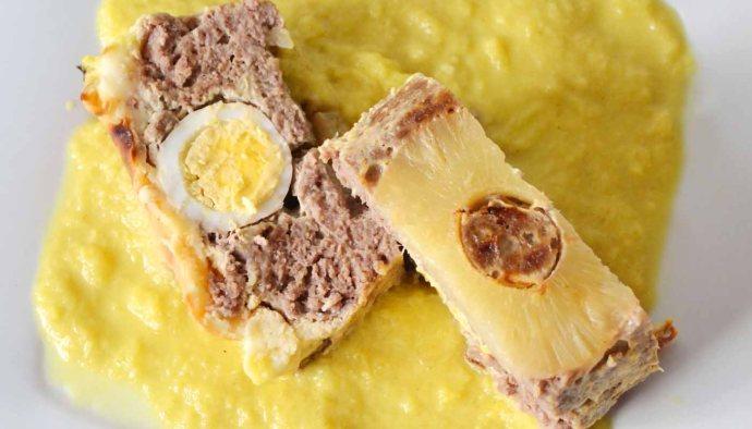 Receta de pastel de carne de ternera con salsa de piña - recetas de ternera - recetas de reaprovechamiento - recetas realfooding o real food