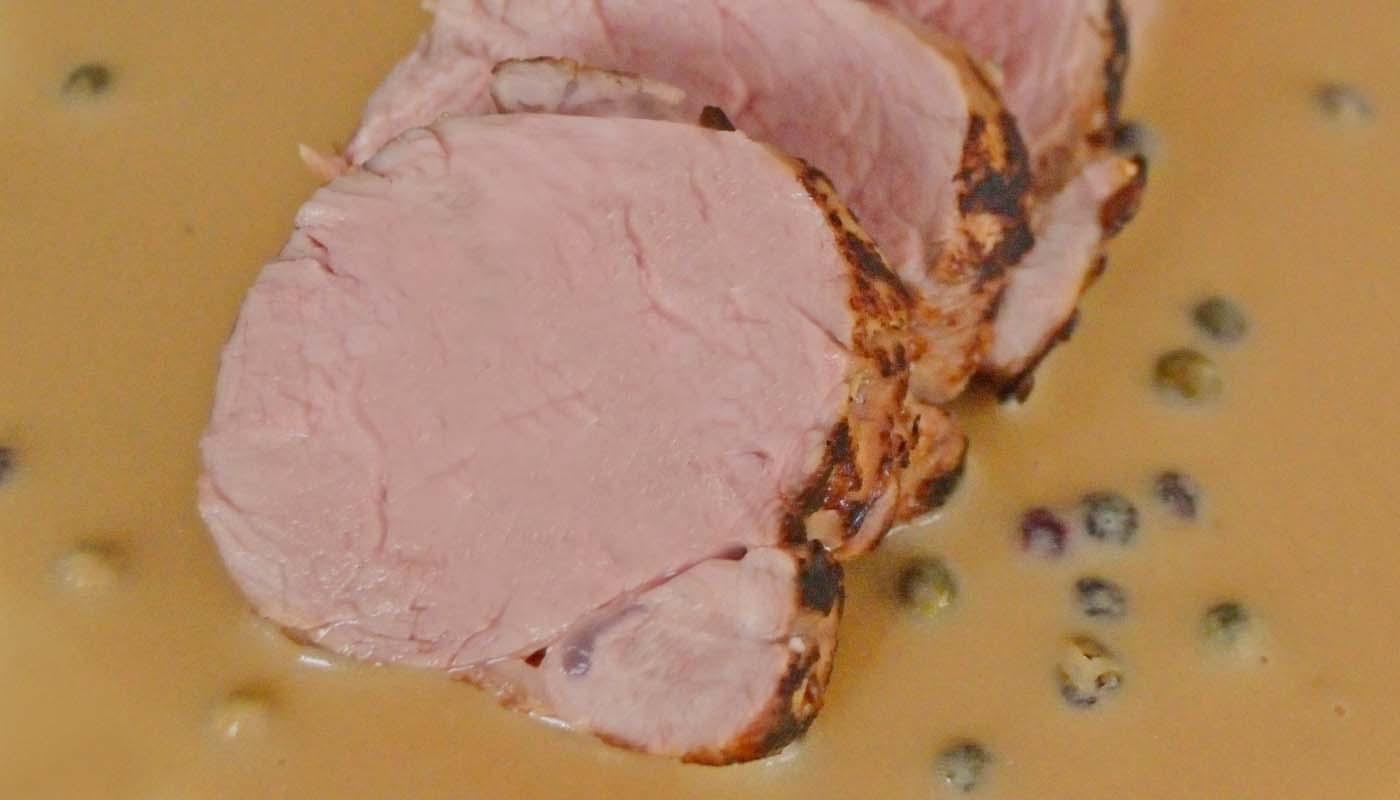 Receta de solomillo de cerdo al horno con salsa de tres pimientas - recetas de cerdo - recetas al horno - recetas realfooding o real food