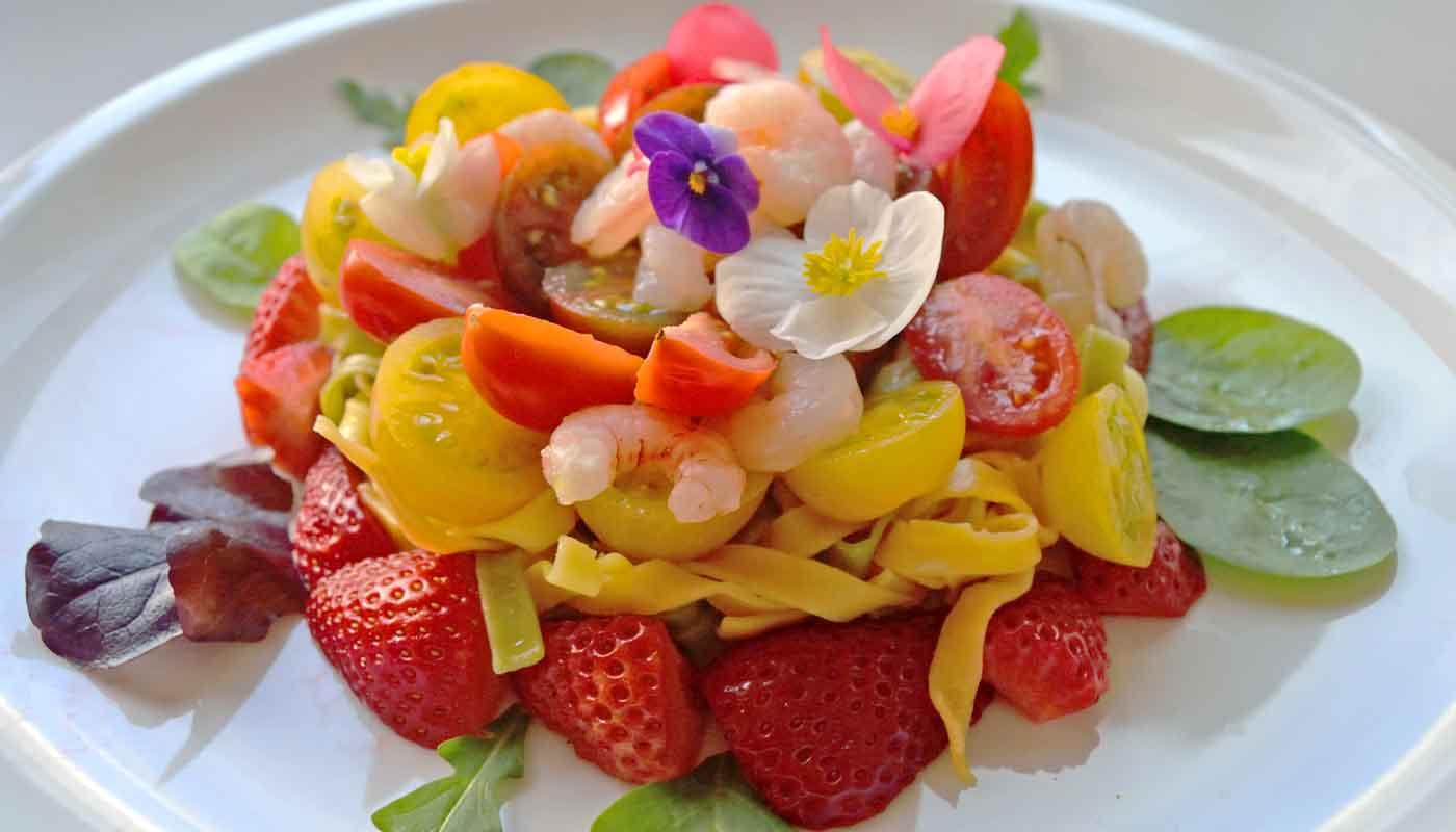 Receta de ensalada de pasta y flores de primavera - recetas de ensaladas - recetas de pasta - recetas con flores - recetas realfood o real fooding