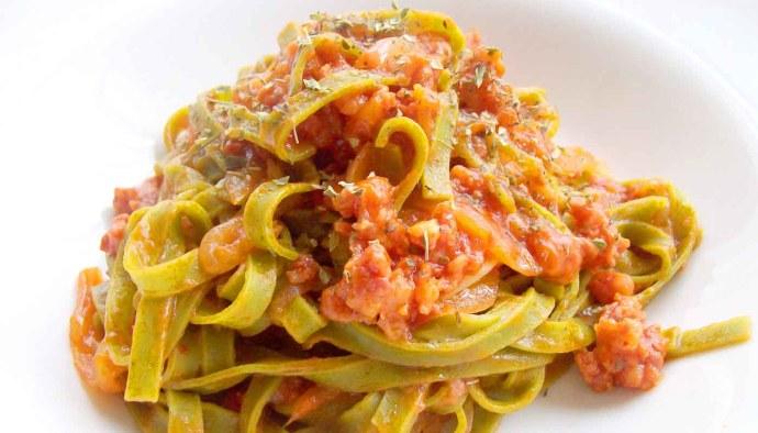 Receta de pasta vegetal con boloñesa de atún - recetas de pasta - recetas realfooding o real food