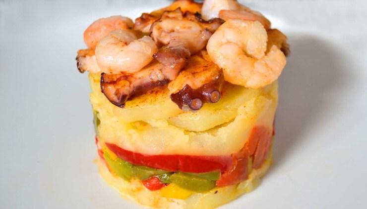 Receta de milhojas de patatas y marisco - recetas de patatas - recetas de mariscos - recetas realfooding o real food