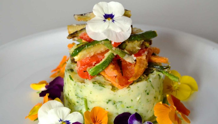 Receta de puré de patatas y repollo con pensamientos - recetas con flores - recetas de pures - recetas realfooding o real food