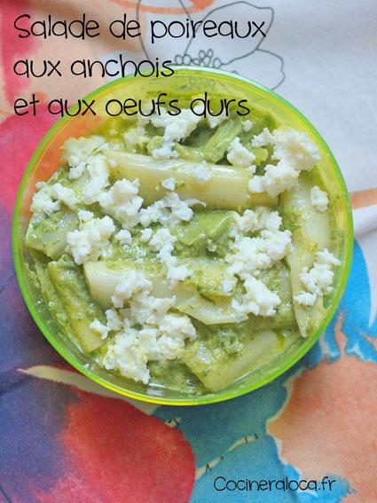 Salade de poireaux aux anchois et aux oeufs durs ©cocineraloca.fr