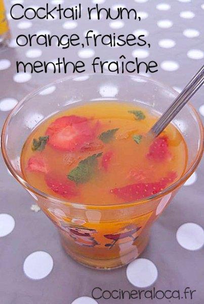 Cocktail rhum orange fraise menthe ©cocineraloca.fr