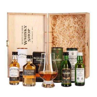 Whisky-Geschenkset-Highland-Park-Glenfiddich-Laphroaig-Bowmore-Glencairn-Whiskyglas