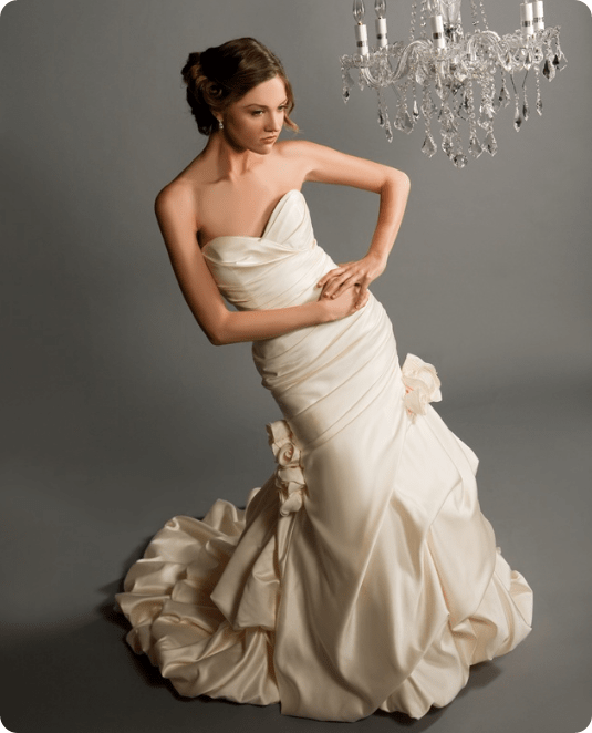w8nnie couture sweetheart strapless gown with rosette designs