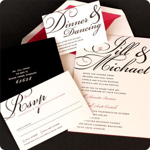 elegant black and white with red heart wedding invitation