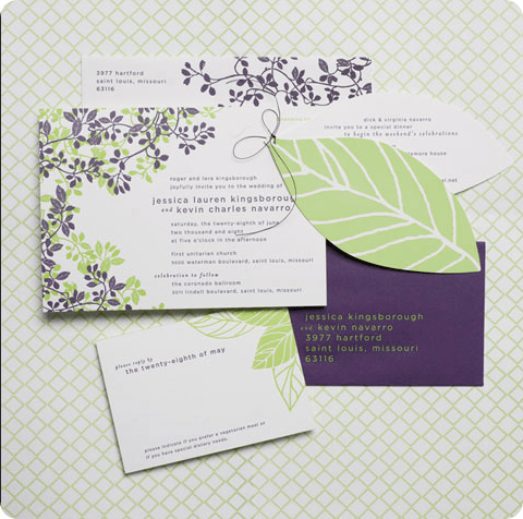 purple and green leaf wedding invitations leaf die cut