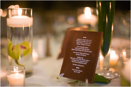 chocolate menu for wedding by edward marc