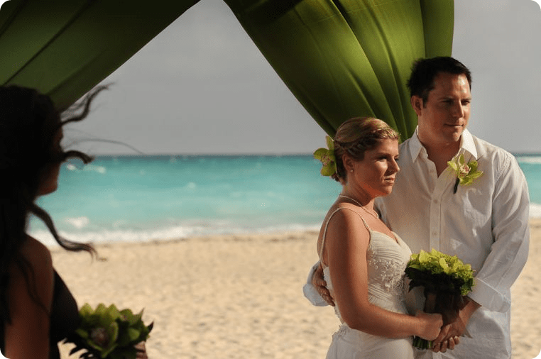Beach Wedding Destination Wedding in Mexico under Green Canopy