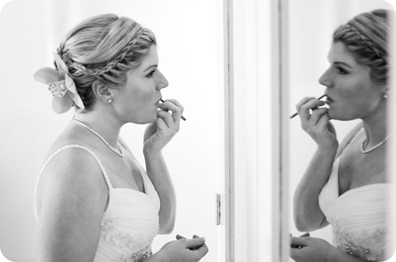 Destination Wedding Bride doing Make up in Mexico