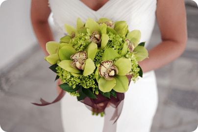 Cymbidium Orchid wedding bouquet for destination wedding