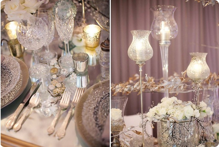 There is something so gorgeous and glamorous about this table with faceted glassware, silver votive cups, crackled candle holders with gold leaves and white roses.  Almost has a winter wedding effect