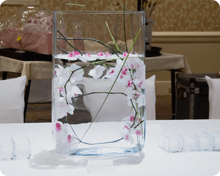White orchids in square vase art contemporary centerpiecs