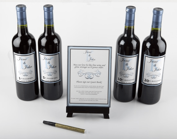 wine bottle guestbook for wedding idea