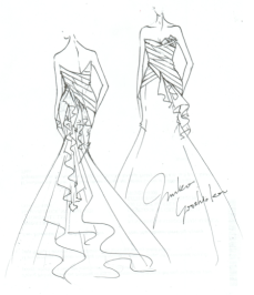 Junko Yoshioka wedding dress sketch for Anne Hathaway