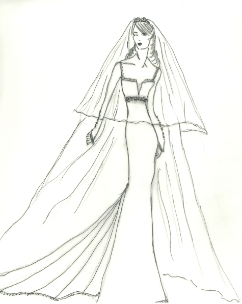 christina makowsky wedding dress sketch for anne hathaway
