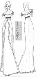 Tekay wedding dress sketch for anne hathaway