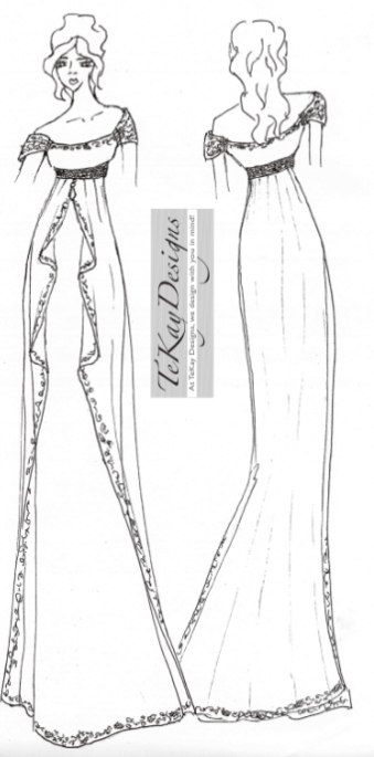 Tekay wedding dress sketch for anne hathaway