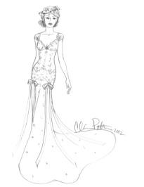 basque gown sketch for anne hathaway by claire pettibone