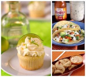 Margarita cupcakes, buffalo chicken tacos, emapanadas