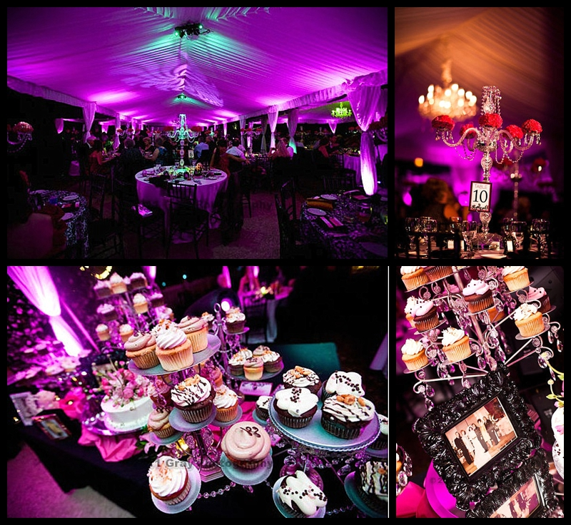 tented uplighting cupcakes wedding crystals