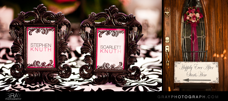 Damask scroll frame for place cards