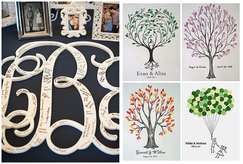 wedding monogram and thumbprint trees for guestbook at weddings