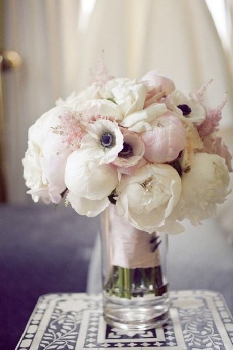 Peonies garden roses and anemones wedding bouquet