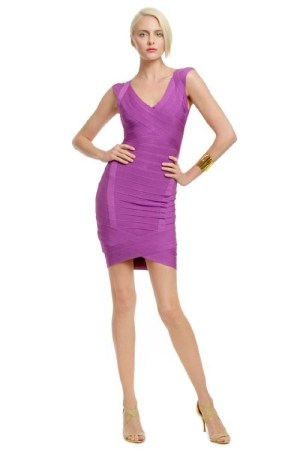 Herve Leger Lilac Infused Body Con Cocktail Dress