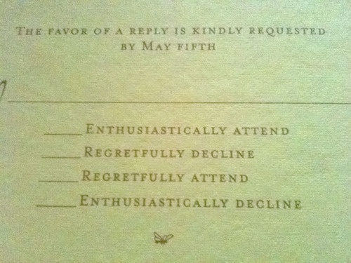 RSVP Cards with funny wording