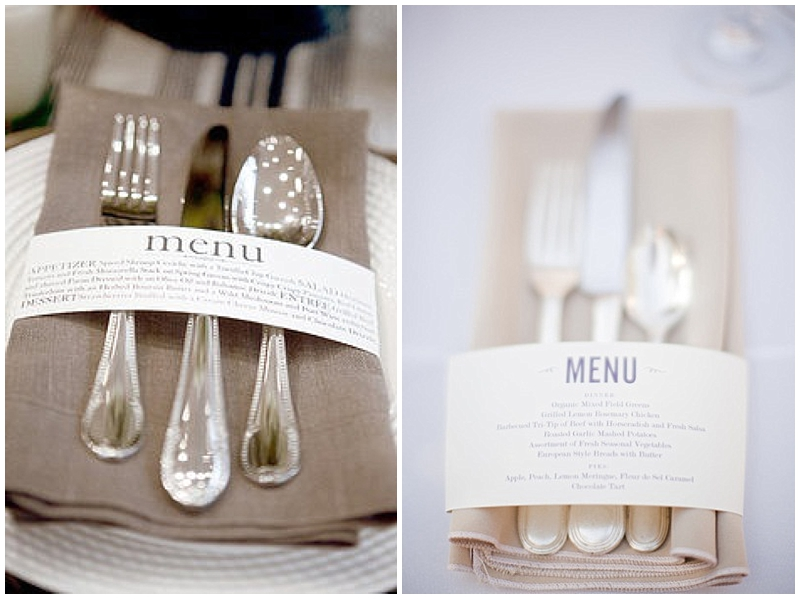 napkin menus for weddings