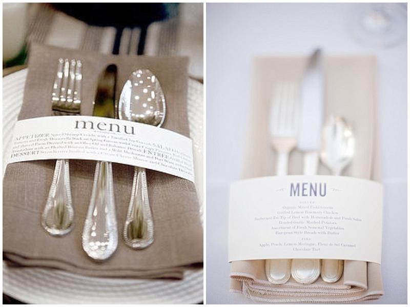 napkin menus for weddings