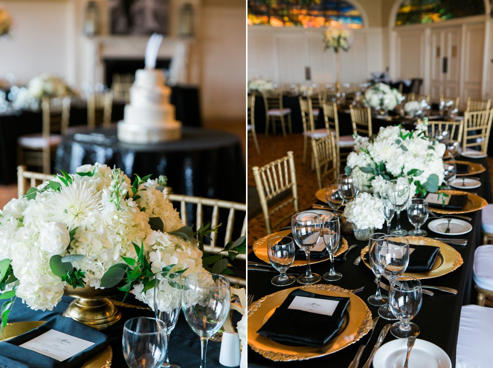gold black and white wedding